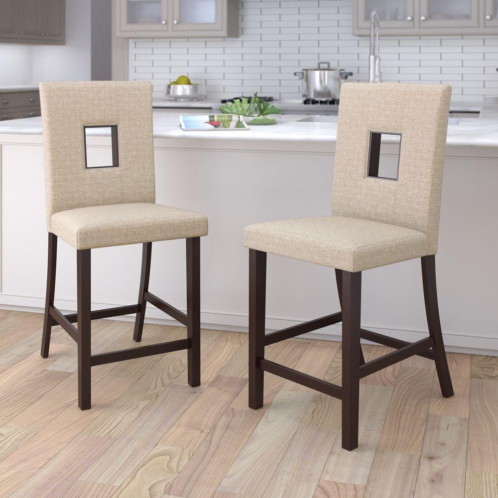 Corliving Bistro Counter Height Dining Chairs in Woven Cream Fabric, Set of 2