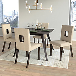 Corliving Bistro Woven Cream Dining Chairs, (Set of 2)
