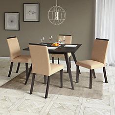 Corliving Ensemble de 2 chaises couleur sable pour salle à manger ...