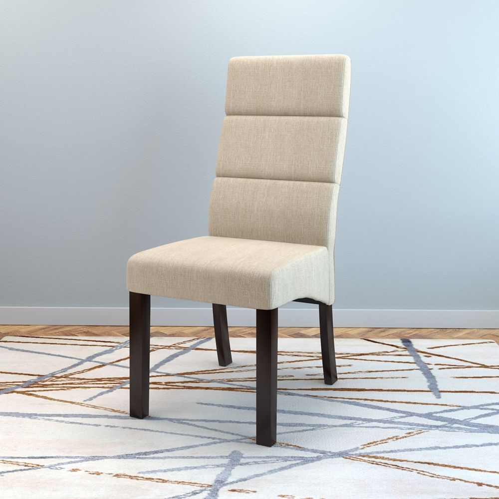 Corliving Antonio Tall Back Cream Upholstered Dining Chairs, Set of 2