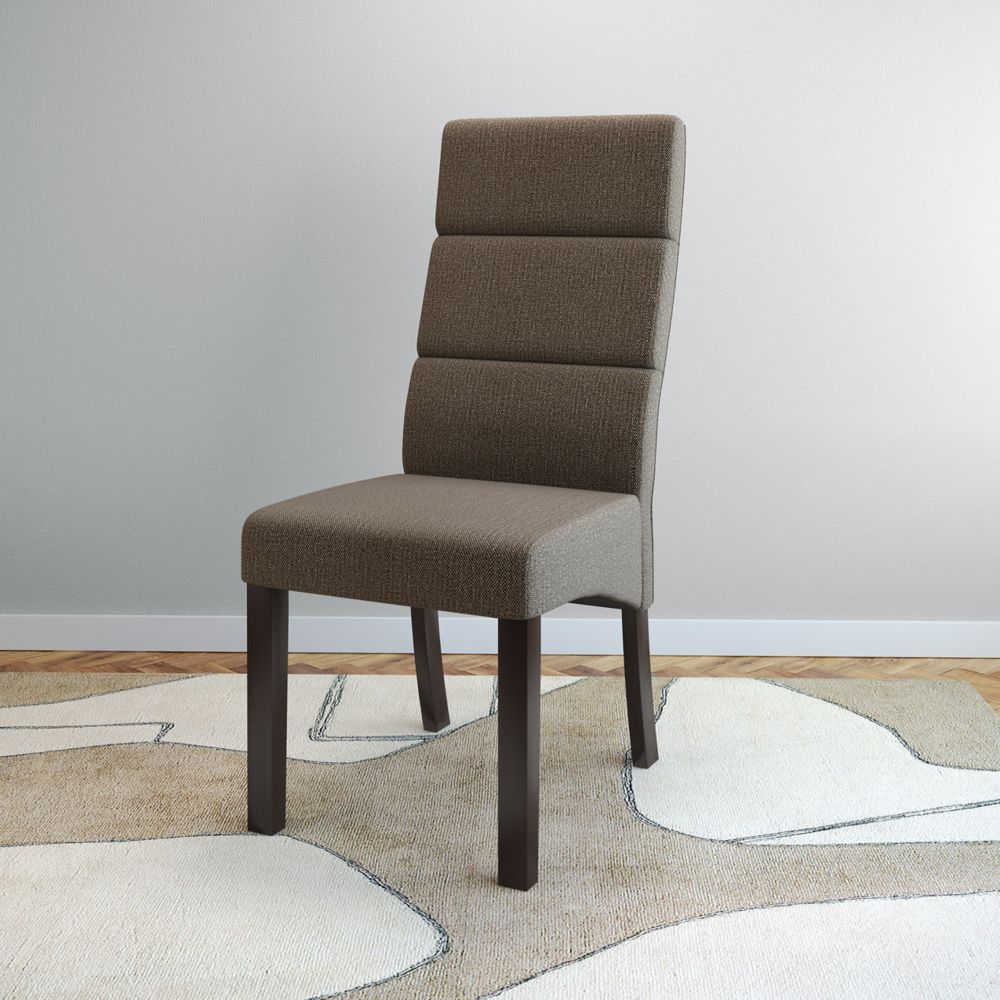 Corliving Antonio Tall Back Brown Upholstered Dining ...