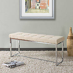 Huntington Modern Beige Fabric Bench with Chrome Base