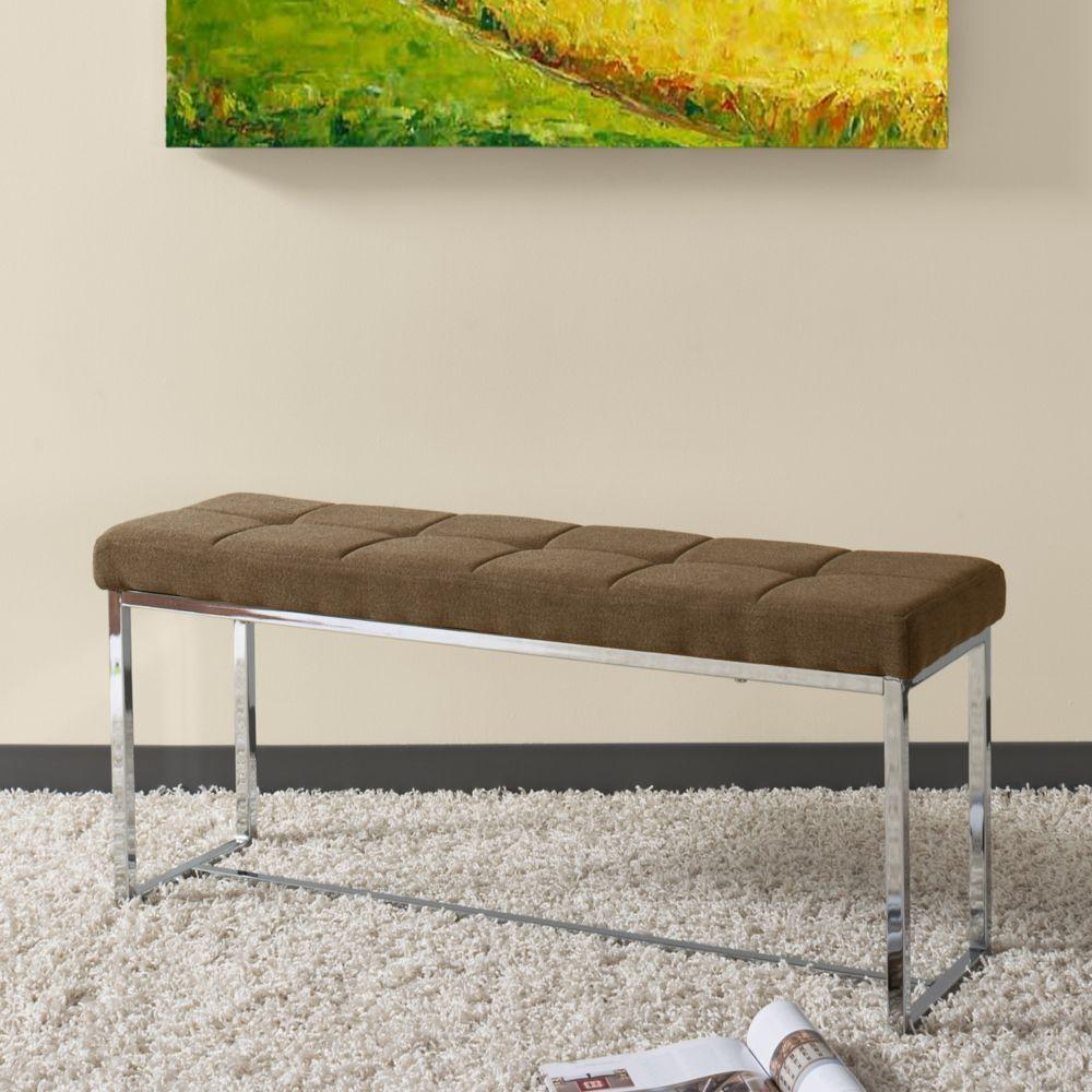 Corliving Huntington Modern Brown Fabric Bench with Chrome Base
