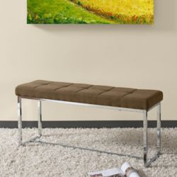 Corliving Huntington Modern Brown Fabric Bench with Chrome Base