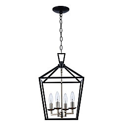 Bel Air Lighting Lacey 4-Light Polished Chrome and Black Pendant