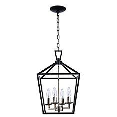 Lacey 4 lumières fini en chrome poli et noir lanterne pendante