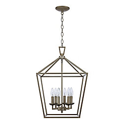 Lacey 6-Light Leaf Pendant Light Fixture in Antique Silver