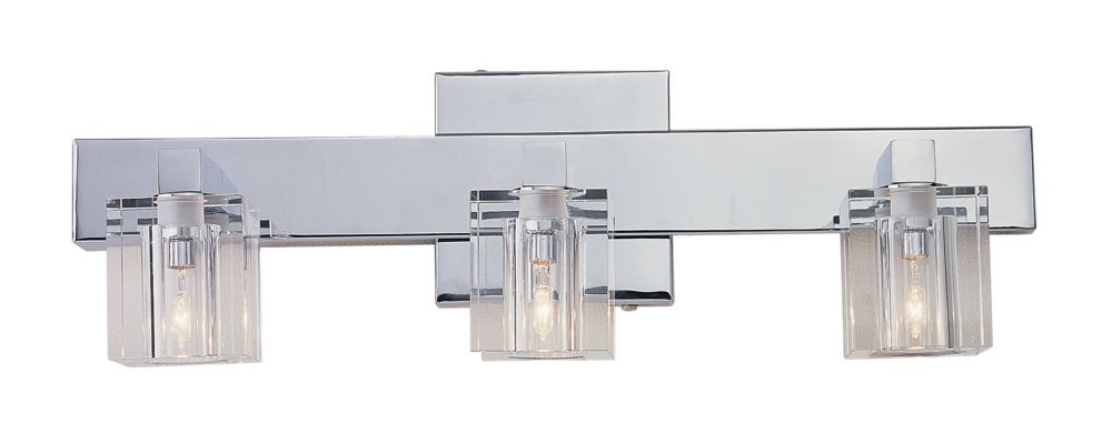 Chrome Bath Lighting Fixtures: Bel Air Lighting Seaglass 3-Light Vanity Light Fixture In