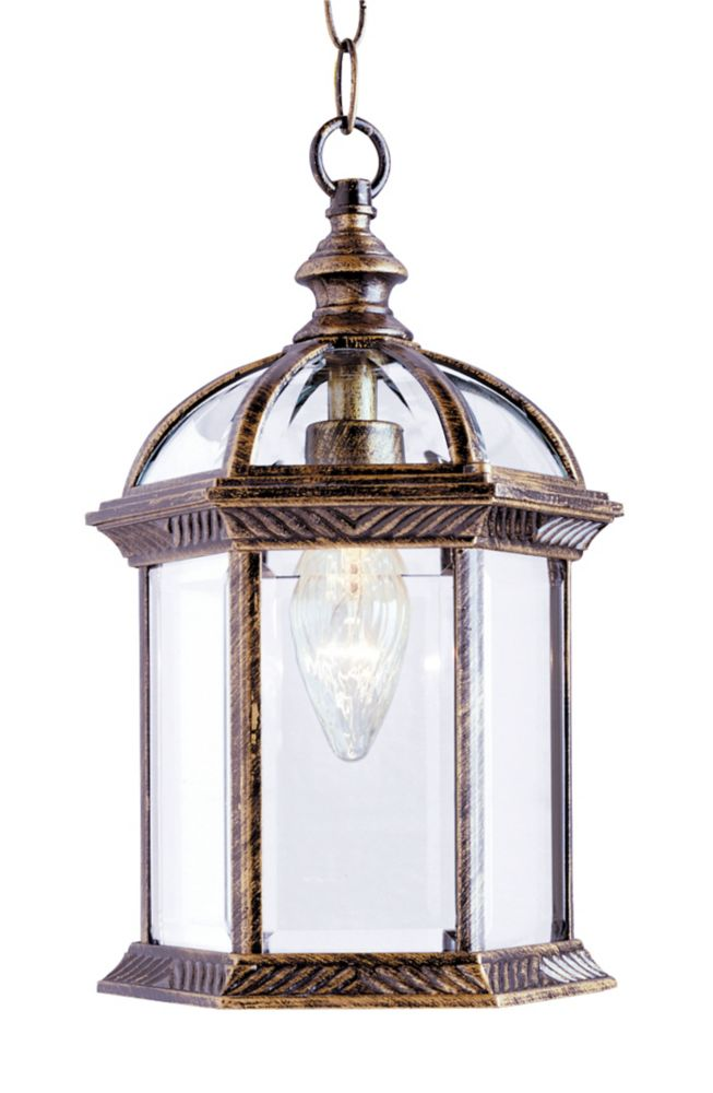Bel Air Lighting Wentworth 1-Light Black Gold Hanging Lantern