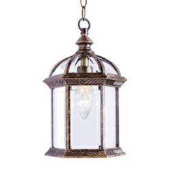Bel Air Lighting Wentworth 1-Light Black Gold Hanging Lantern