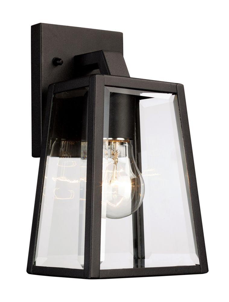 Bel Air Lighting Obsidian 1-Light Black Wall Lantern