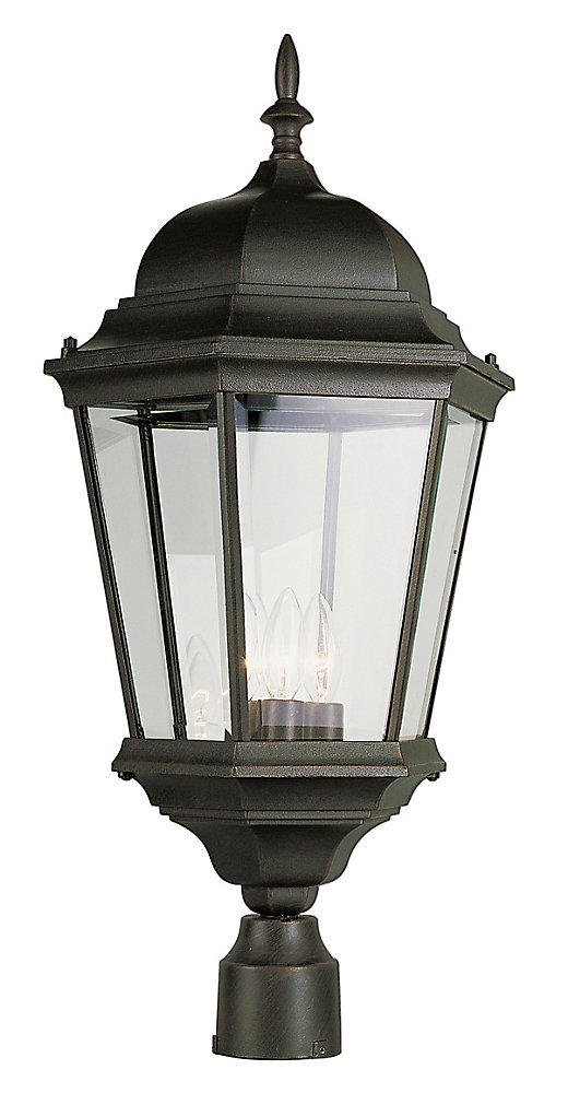 Classical 3-Light Black Post-Mount Lantern