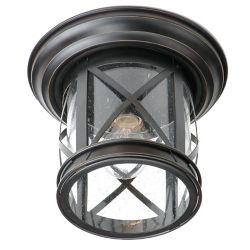 Bel Air Lighting Chandler 1-Light Rubbed Oil Bronze Flushmount Lantern