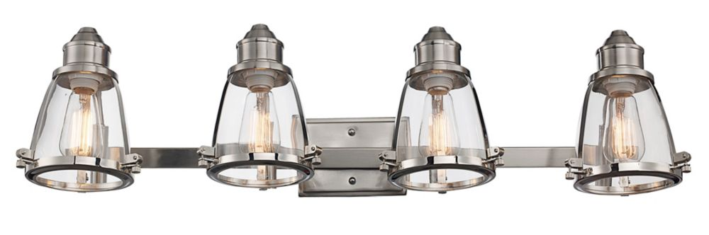 Bel Air Lighting Boston 4-Light Vanity Light Fixture in Brushed Nickel