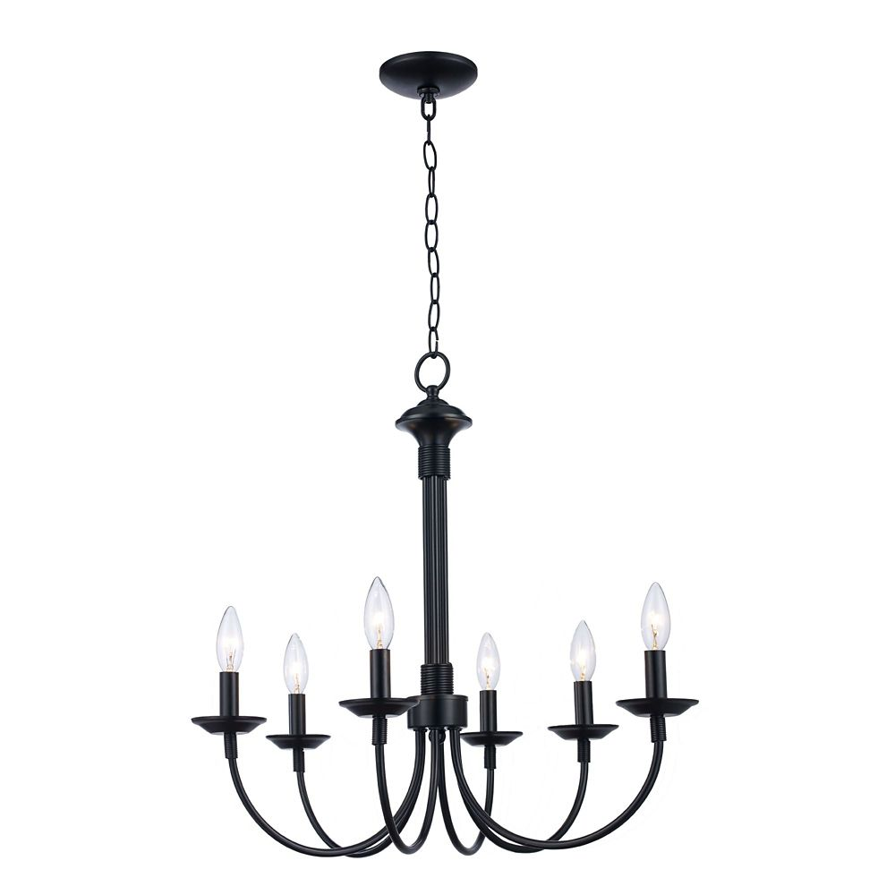 Bel Air Lighting Candle 6 Light Black Chandelier