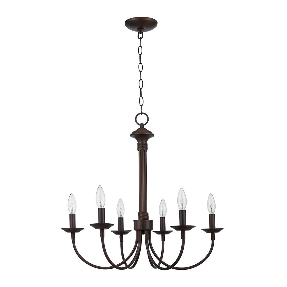 Bel Air Lighting Candle 6-Light Rubbed Oil Bronze Chandelier