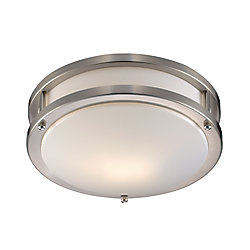Bel Air Lighting Barnes 1-Light Brushed Nickel Flushmount Light Fixture