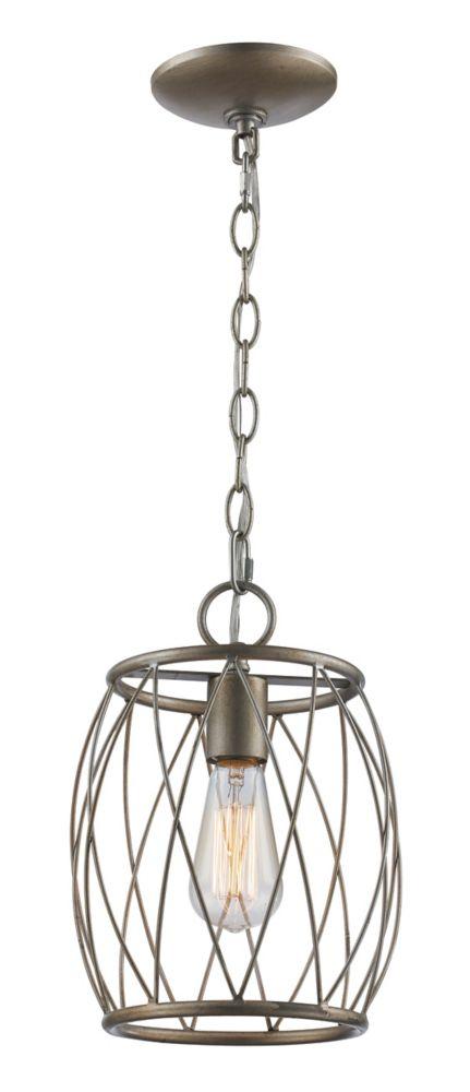 Bel Air Lighting Rhythm 1-Light Antique Silver Leaf Pendant