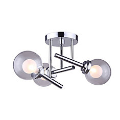 CADE 3-Light Chrome Semi-Flush Mount with Clear & Frosted Glass