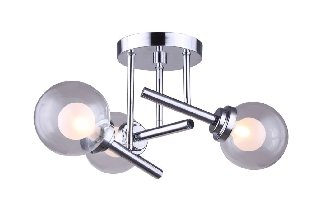 Canarm CADE 3-Light Chrome Semi-Flush Mount with Clear & Frosted Glass
