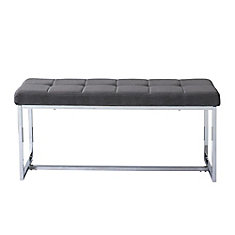Huntington Modern Bench in Grey Fabric with Chrome Base