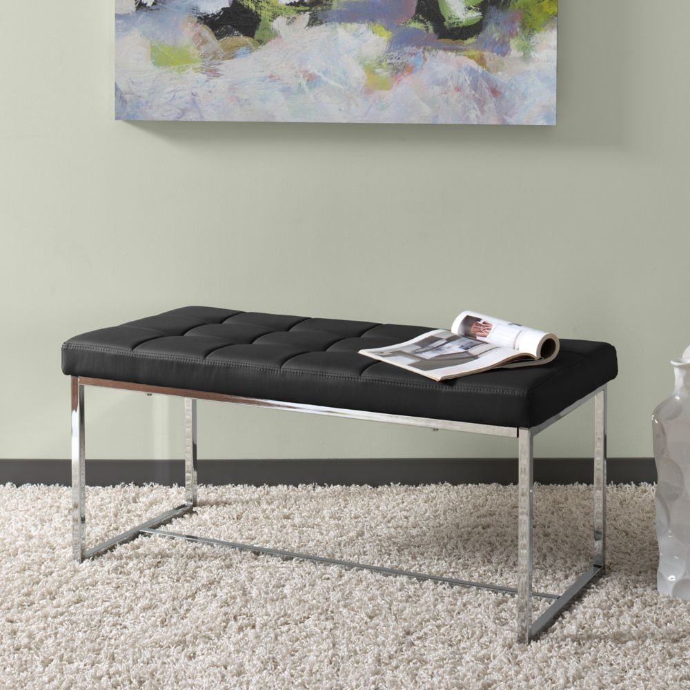 Corliving Huntington Modern Black Leatherette Wide Bench with Chrome Base
