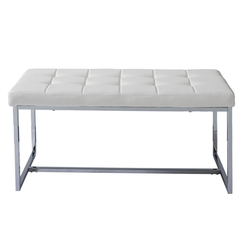 Corliving Huntington Modern White Leatherette Wide Bench with Chrome Base