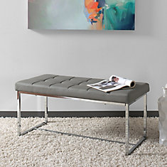 Huntington Modern Grey Leatherette Wide Bench with Chrome Base