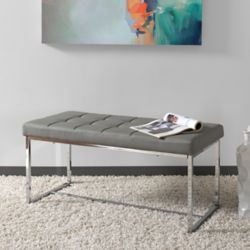 Corliving Huntington Modern Grey Leatherette Wide Bench with Chrome Base