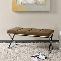 Huntington Modern Brown Fabric Bench with X Shape Chrome Base