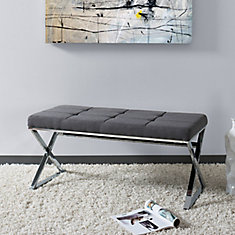 Huntington Modern Grey Fabric Bench with X Shape Chrome Base