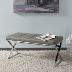 Corliving Huntington Modern Grey Leatherette Bench with X Shape Chrome Base