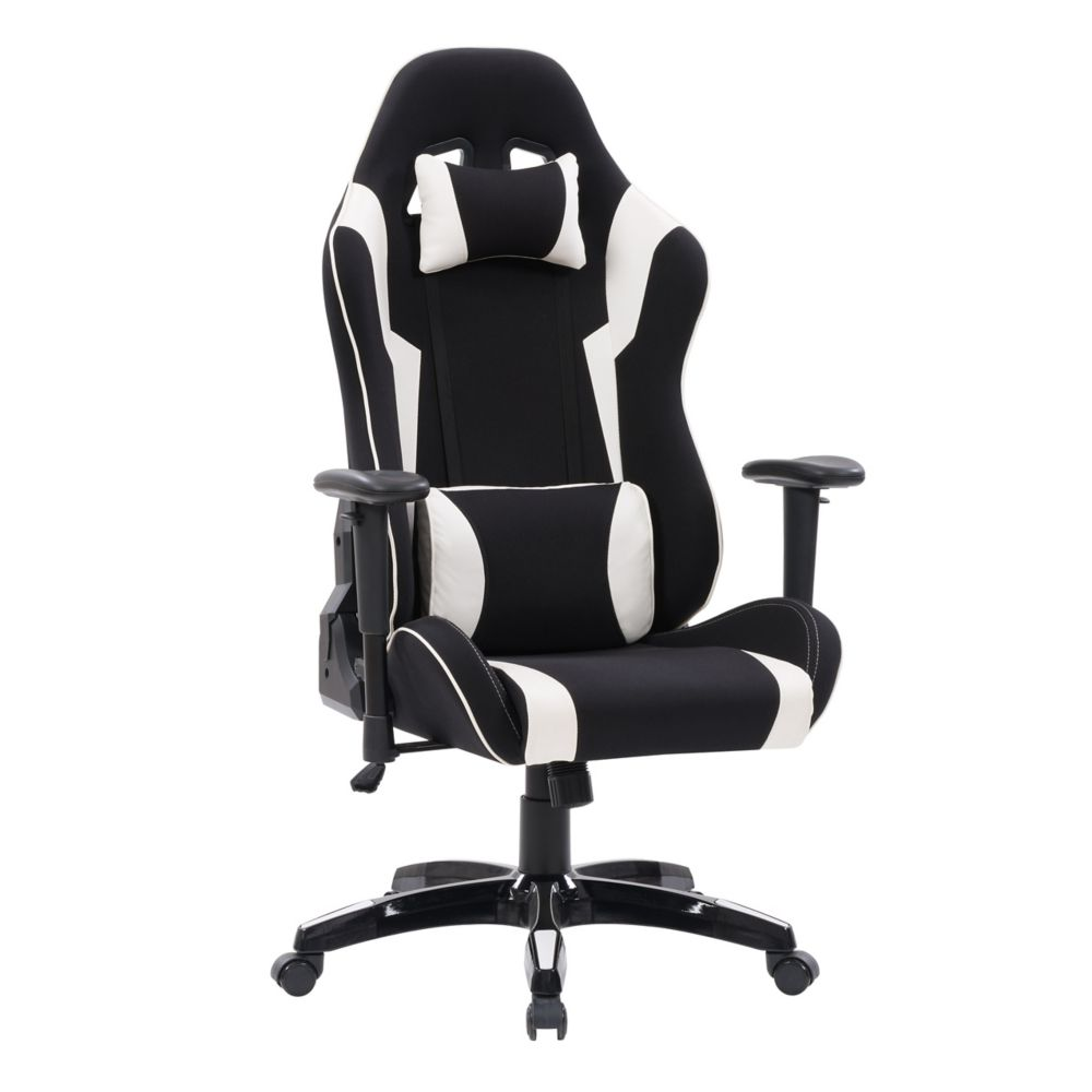 Corliving Black and White High Back Ergonomic Gaming Chair, Height Adjustable Arms