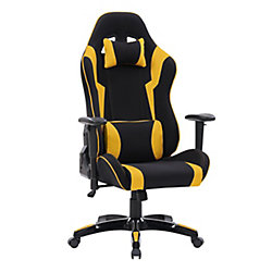 Corliving Black and Yellow High Back Ergonomic Gaming Chair, Height Adjustable Arms