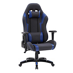 Corliving Grey and Blue High Back Ergonomic Gaming Chair, Height Adjustable Arms