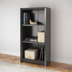 "Corliving Quadra 47"" Tall Bookcase in Black Faux Woodgrain Finish"