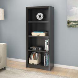 "Corliving Quadra 59"" Tall Bookcase in Black Faux Woodgrain Finish"