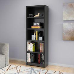 "Corliving Quadra 71"" Tall Bookcase in Black Faux Woodgrain Finish"