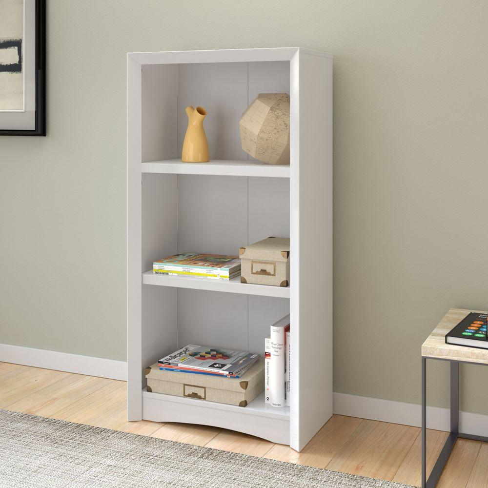 """Corliving Quadra 47"""" Tall Bookcase in White Faux Woodgrain Finish"""