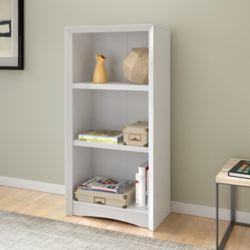 Corliving Bibliothèque Quadra 47 po avec faux-fini de bois blanc