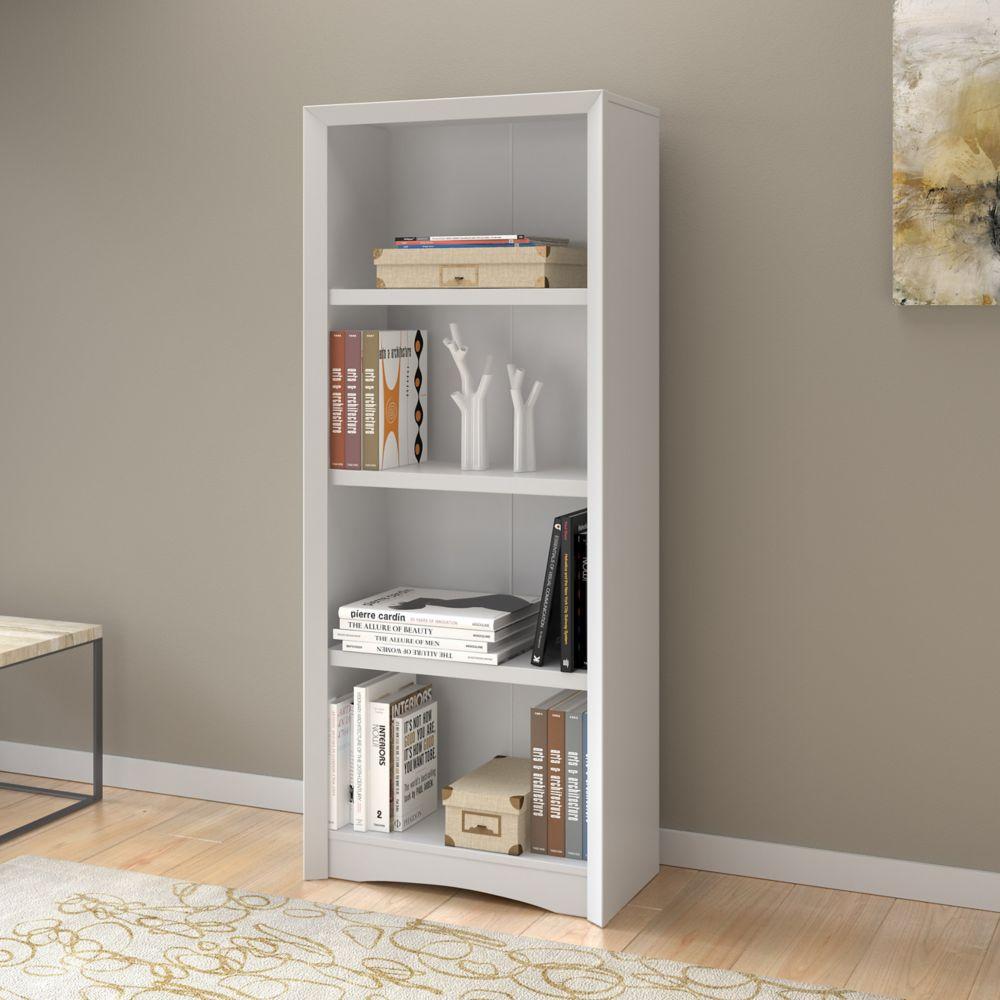 """Corliving Quadra 59"""" Tall Bookcase in White Faux Woodgrain Finish"""