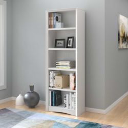 "Corliving Quadra 71"" Tall Bookcase in White Faux Woodgrain Finish"