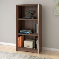"Corliving Quadra 47"" Tall Bookcase in Walnut Faux Woodgrain Finish"