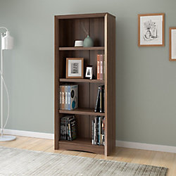 "Corliving Quadra 59"" Tall Bookcase in Walnut Faux Woodgrain Finish"