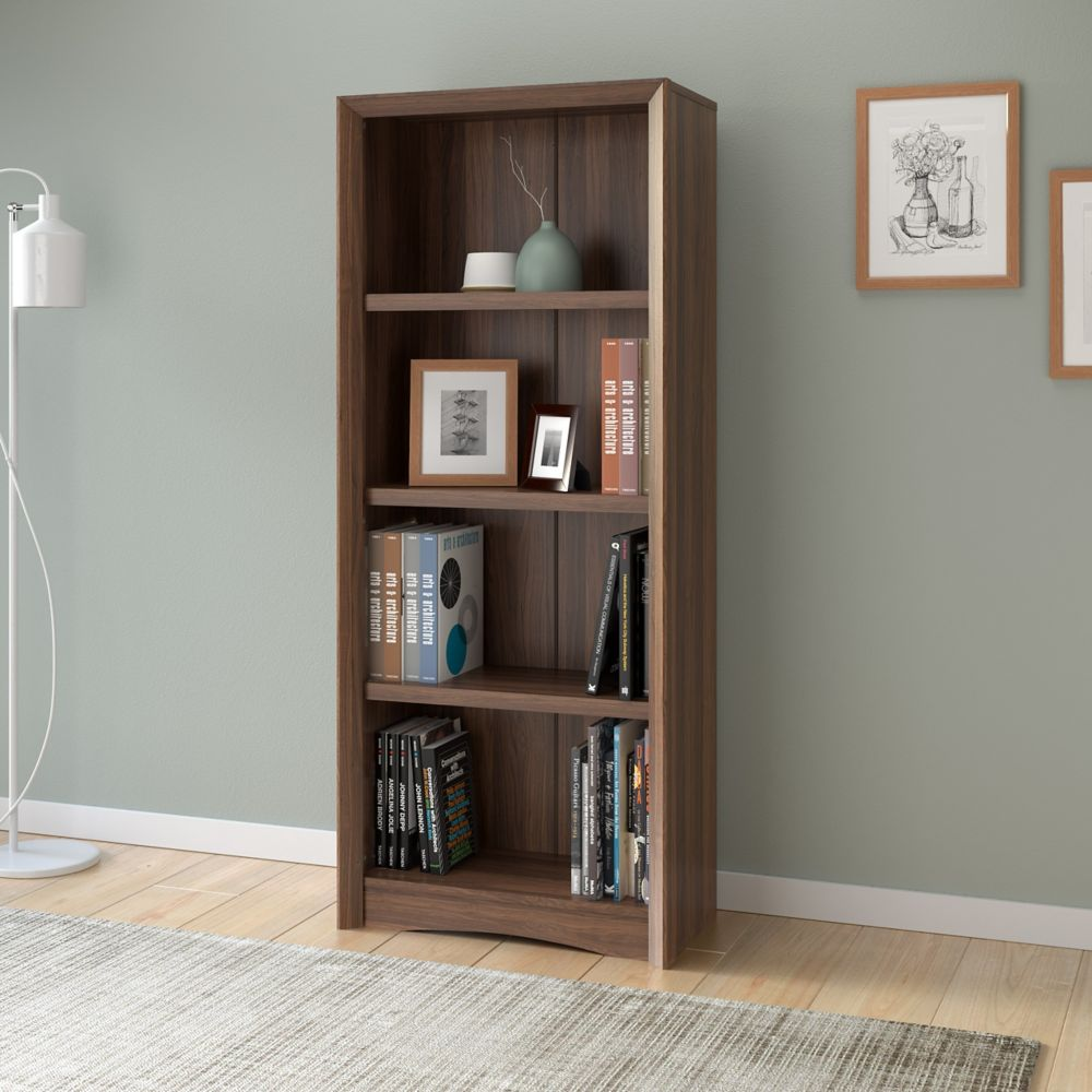 "Corliving Quadra 59"" Tall Bookcase in Walnut Faux Woodgrain Finish"