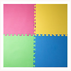 Connect-A-Mat Fuchsia, Yellow, Green and Blue 24-inch X 24-inch Anti-Fatigue Interlocking Mats (4-Pack)