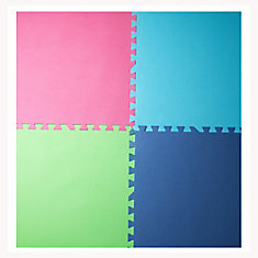 Pink, Blue, Green and Navy 24-inch X 24-inch Anti-Fatigue Interlocking Mats (4 pack)