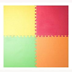 Yellow, Red, Green and Orange 24-inch X 24-inch Anti-Fatigue Interlocking Mats (4 Pack)