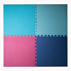 Connect-A-Mat Ensemble de 4 tapis entrecroisés antifatigue, 24 po x 24 po, bleu, aqua, fuchsia, rose