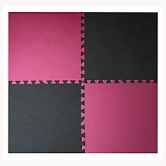 Pink and Black 24-inch X 24-inch Anti-Fatigue Interlocking Mats (4 Pack)